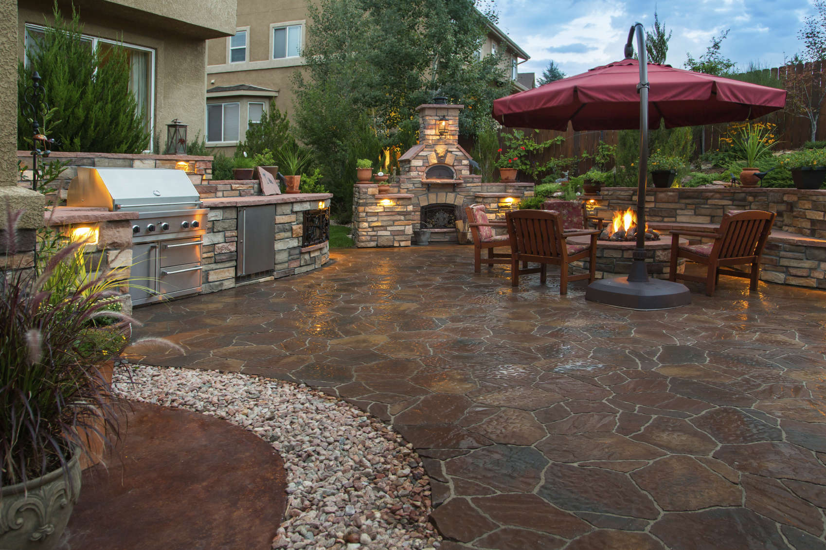 beautiful stone patio in kelowna