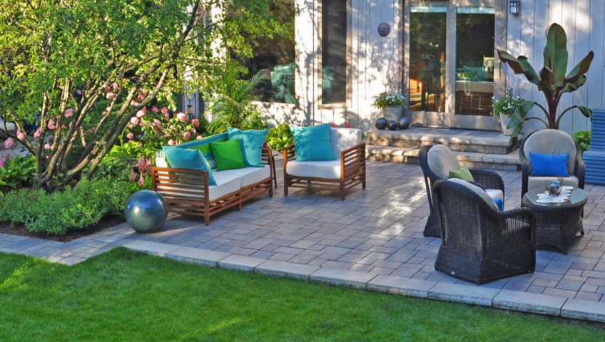 Rock Patio With Outdoor Furniture